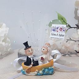 Evleniyoruz Kayıkta Biblo Nikah Şekeri