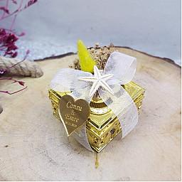 Kuru Çiçekli Kare Kutu Nikah Hediyeliği Nişan Şekeri