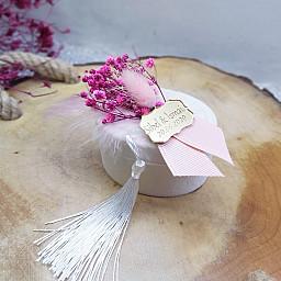 Pleksi İsimlikli Krem Kutu Kuru Çiçekli Nİkah Şekeri Nişan Hediyeliği