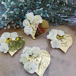 Dev Kampanya 4 Cicekli Pleksi Kalp Söz Nişan Hediye, Nikah Şekeri Düğün Şekeri
