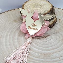 Güvercinli Kalp Söz Nişan Pleksi Kişiye özel Nikah Şekeri