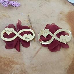 İki Kalpli Pleksi Sonsuzluk Nikah Şekeri Lazer Çiçekli Hediyelik
