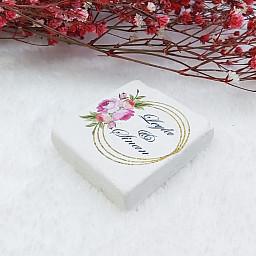Doğal Taş Magnet Nikah Şekeri Nişan Hediyeliği Altın Çiçekli 4,5x4,5 kare