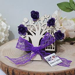 Ahşap Dantel ve Çiçek Süslü Magnet Ağaç