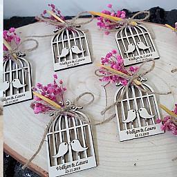 Kuru Çiçekli Kuşlu Ahşap Magnet Nikah Şekeri, Düğün Şekeri