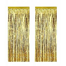 Doğum Günü Süsleri Metalize fon süsü asmalı 50x230 cm altın pk:2 li set
