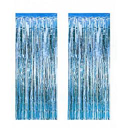 Metalize fon süsü asmalı 50x230 cm mavi pk:2 li set