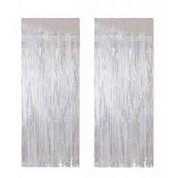 Metalize fon süsü asmalı beyaz 50x230 cm pk:2 li set