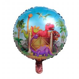 Dinozor Yuvarlak Folyo Balon 18 inç