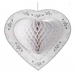 Süs kalp petek modeli beyaz  p1