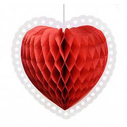 Süs kalp petek modeli kırmızı 38x40 cm p1-100