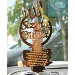 Allah Lafızlı Dualı Dikiz Aynası Süsü Lazer Kesim Pleksi