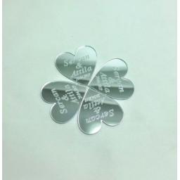 Kalp İsimli Pleksi Ayna Nikah Bebek Şekeri Süsleme Malzemesi
