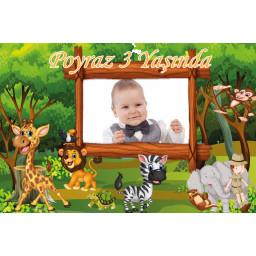 Safari Hayvanlı Doğum Günü Fotoğraflı Afiş