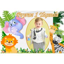 Sevimli Hayvanlar Konseptli Fotoğraflı Doğum Günü Afiş HDTSS221