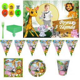 Afiş Hediyeli Safari Temalı Doğum Günü Süsleri Parti Seti HDTS220