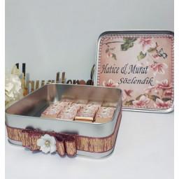 Etiketli Teneke Kutu Söz Nişan Çikolatası 50 li