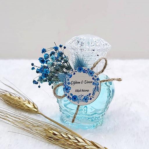 Ahşap İsimlikli Mavi Kuru Çiçekli Taç Kolonya Şişesi Söz Nişan Hediyeliği