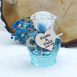 Mavi Kuru Çiçekli Taç Kolonya Şişesi Söz Nişan Hediyeliği