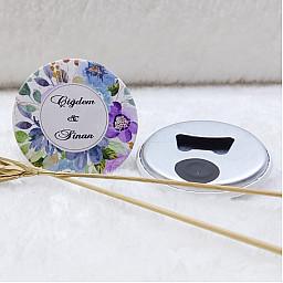Açacak Magnet Nikah Hediyeliği Mavi Mor Çiçek Uv Baskılı