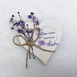 Ahşap Kalp Kuru Çiçek Süslü Uv Baskılı Nişan Hediyeliği Nikah Şekeri 6 cm