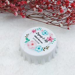 Mavi Pembe Çiçekli Baskılı Kapak Açacak Uv Baskılı Nişan Hediyeliği Nikah Şekeri 6 cm
