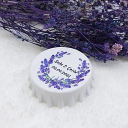 Lavanta Çiçek Baskılı Kapak Açacak Uv Baskılı Nişan Hediyeliği Nikah Şekeri 6 cm