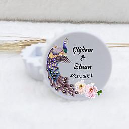 Nikah Şekeri Magnet Ekonomik Kapak Açacak Magnet Tavus Kuş Baskılı
