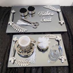 2 Lü Set Kare Aynalı Tepsi Yaprak Desenli Söz Nişan Yüzük Tepsisi ve Damat Kahve Takımı Sade Model