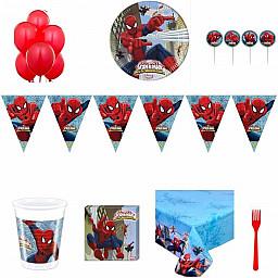 16 Kişilik Spiderman Örümcek Adam Doğum Günü Süsleri, Parti Seti