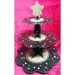 Siyah Üzeri Yıldızlı Kek Standı