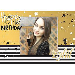 Golden Stars Yetişkin Kişiye Özel Fotoğraflı Doğum Günü Afiş HDTS226