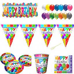 8 Kişilik Yetişkin Doğum Günü Süsleri parti Seti Sofra Seti Tam Set  Multicolor Happy Birthday